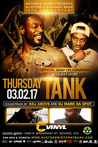 R&B Singer/Actor Tank hosting DJ KTone's 10th Anniversary Birthday Bash at Vinyl 2017, Denver Colorado